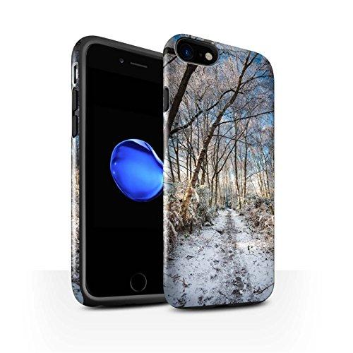 STUFF4 Glanz Harten Stoßfest Hülle / Case für Apple iPhone 8 / Sonnenstrahlen Muster / Winter Saison Kollektion Gefrorenen Weg