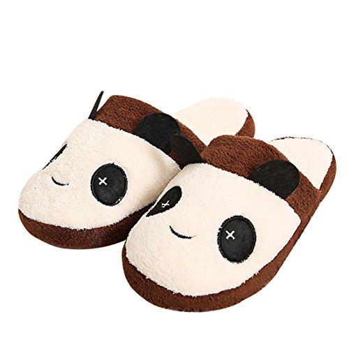Union Tesco Baumwolle Hausschuhe,Hausschuhe Innenraum Slipper im Panda Design,Winter Wärme Plüsch Hausschuhe Braun