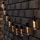 Homezone 10 Set Retro Edison Bombilla Solar Power Jardín LED Cadena Luces Colgantes 3,5 M Decor Jardín Iluminación Exterior Fiesta Luces de Hada