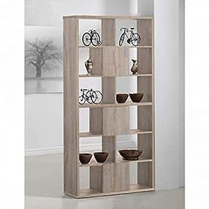 Meuble de Bibliothèque en bois avec 6 compartiments ouverts -PEGANE-