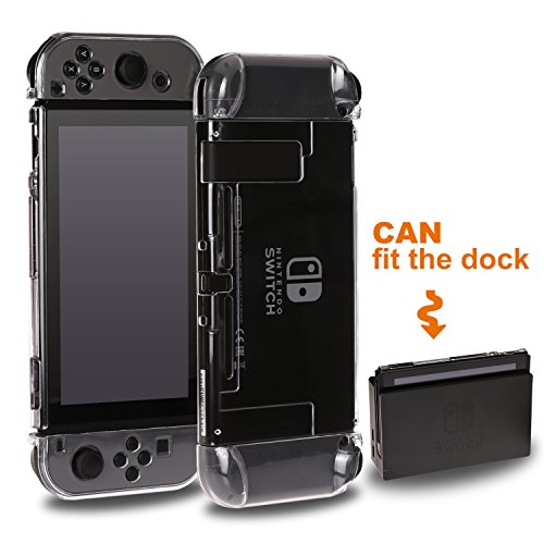 VEGCOO Nintendo Switch Case Crystal Clear- Dockable Hülle für Nintendo Switch und Joy-Con Controller, Stoßdämpfung kratzfest Abdeckung