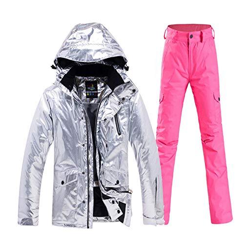 KTUCN Glänzende Herren und Damen Schneeanzug Bekleidung Snowboard Bekleidung Wasserdicht Kostüm Outdoor Sport Winter Ski JackeSchneehose, Pink, S (Men's Alpine Kostüm)