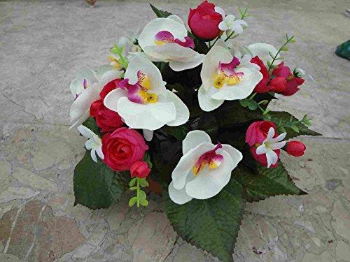 künstliche Grabgesteck Ranunkel/Orchidee-rot-A