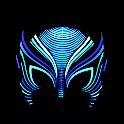 Hankyky LED Leuchten Halloween Maske Sound Induction Aktiviert Scary Maske Cosplay Led Kostüm Maske Musik Party Maske Cosplay Maske für DJ & amp; Fest Party