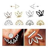 Reastar Lotus Blume Ohrringe 10 Paare Hohl Ohrstecker Set Einfach Elegant Geschenk für Frauen, Mädchen und Andere, Gold und Silber
