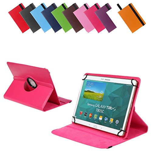 Universal Rotation-Tasche für verschiedene Tablet Modelle (9 / 10 / 10.1 Zoll, Pink) Größe Schutz Case Hülle Cover (360° drehbar, vertikal und horizontal aufstellbar, mit Gummibandverschluss