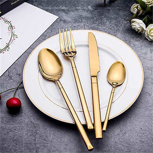 JIEHUSHI Edelstahl Geschirr Set Geschirr Set Golden Silver Farbe Durable Western Gabeln Messer Essbesteck 4 STÜCKE 2 (Messer-set Rosa Koch)