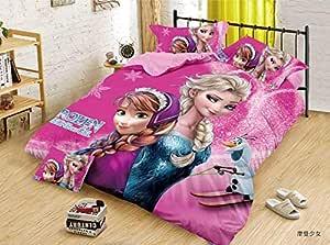 Dazling Bazaar® Cartoon Frozen Girl Pink Print 260 TC Comforter Set for Kids Double Bed (1Comforter,1Bedsheet for Children Room with 2 Pillow Cover,4piece Set(90 inch x 100 inch),Pink
