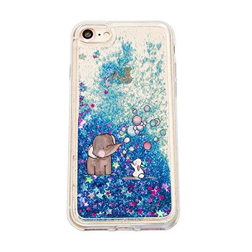 finoo | Iphone 6 Plus / 6S Plus Flüssige Liquid Blaue Glitzer Bling Bling Handy-Hülle | Rundum Silikon Schutz-hülle + Muster | Weicher TPU Bumper Case Cover | Elefanten Schaukel Hase Elefant Hase Seifenblasen
