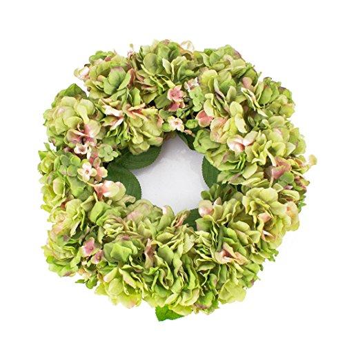 artplants - Sommerlicher Hortensienkranz aus künstlichen Blumen auf Rattan, grün-rosa, Ø 35 cm - Türkranz / Kunst Hortensie