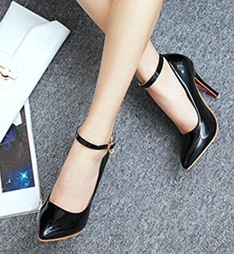 Aisun Damen Elegant Lackleder Pointed Toe Pumps Mit Knöchelriemchen Schwarz