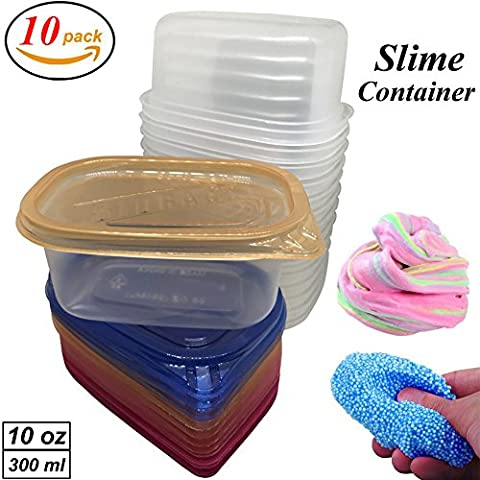 Slime Containers with Lids 10 Pack Storage Jars for Foam Balls Slime Floam Beads, 10 oz, Clear Tight Seal For All Your food Glue Putty