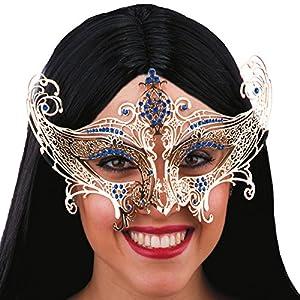 Carnival Toys 00709 - máscara para adultos, metal, amarillo/azul