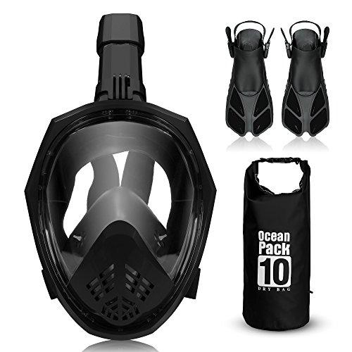 ACALI Faltbare Tauchmaske Vollgesichtsmaske Schnorcheln Maske Set + Tauchflossen und 10L PVC Wasserdicht Dry Bag-180 Grad Sichtfeld f¨¹r Erwachsene, Kinder, Gopro Kamera montieren