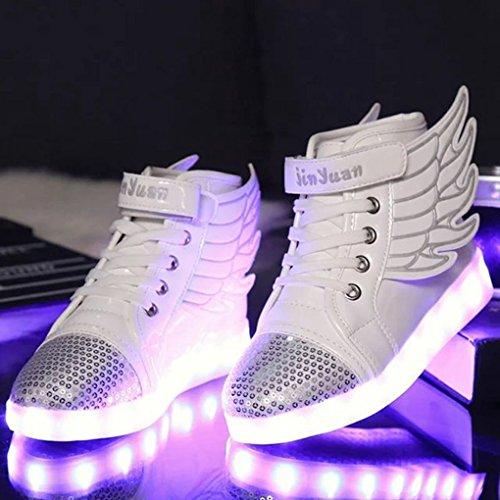 ENFANTS garçon fille lumière LED Baskets High-top Sneakers chargement USB Chaussures de sports Dance Cadeau unique Blanc