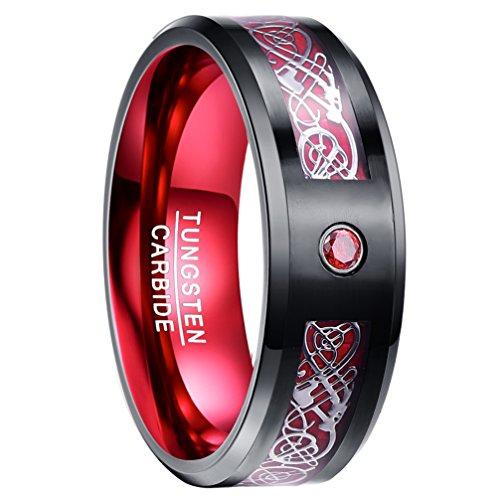 NUNCAD Ring Hochzeit Set aus Wolfram, Ring Herren/Damen mit Gravur, Zirkon, Kohlefasern keltisch 8mm, für Partnerschaft und Jahrestag, Schmuckbox als Gratis, Größe 77 (37)