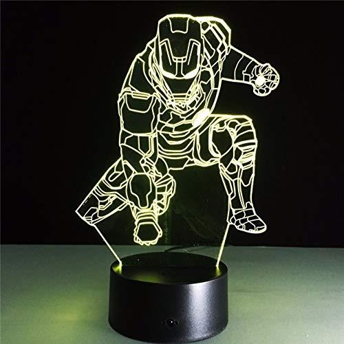 Marvel Civil War Captain America 7 Farbwechsel Licht 3D Illusion Bulbing Lampe Halloween Weihnachten Kinder Geschenk Nachttischlampe
