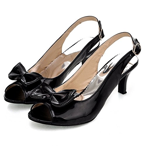 TAOFFEN Femme Mode Kitten Heel Slingback Sandales Talon Moyen Chaussures Avec Bowknot Noir