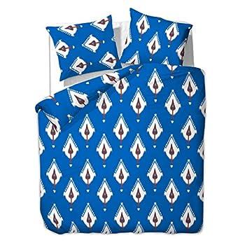 DecoKing Double 200x200 + 2 * 80x80 cm Pillow Case 3pcs Duvet Cover Set Microfibre Large Pillowcase Reversible Zip Elegant Printed White Royal Blue Basic Collection Ambient