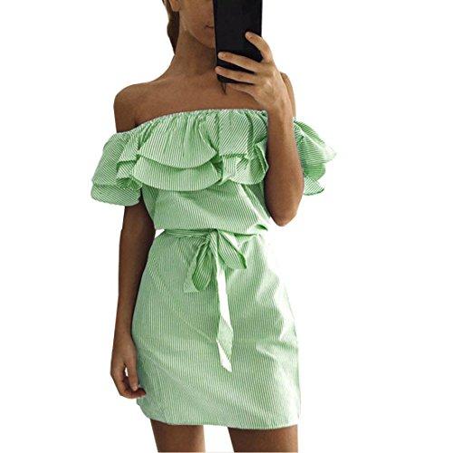 JUTOO Frauen Sommer Striped aus der Schulter Rüschen Kleid mit Gürtel(Grün, EU:42/CN:L)