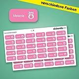 Stickerella - 60 Stück! -Namensaufkleber, Namensetiketten, permanent, wasserfest, personalisiert, (11 x 26 mm) (pink)