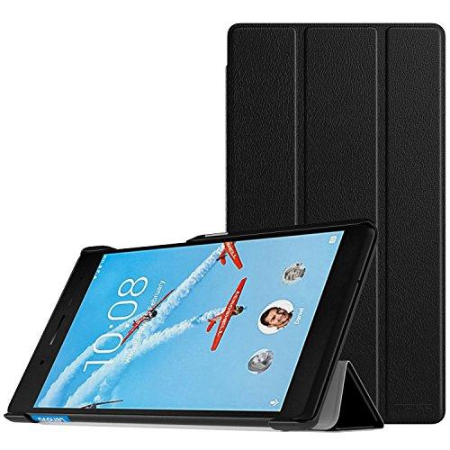 MoKo Lenovo Tab 7 Essential Hülle - Ultra Lightweight Slim PU Leder Tasche Schutzhülle Schale Smart Case mit Standfunktion für Lenovo Tab 7 Essential Tablet 2017, Schwarz