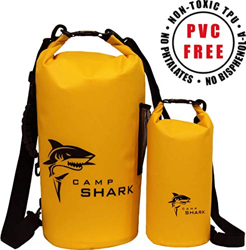 RevalCamp Dry Bag 5L Gelb - Nicht Krebserregendes PVC* - wasserdichte Tasche aus TPU - Kein übler Geruch, Bessere Elastizität and Längere Lebensdauer - Für den modernen Abenteurer entworfen -