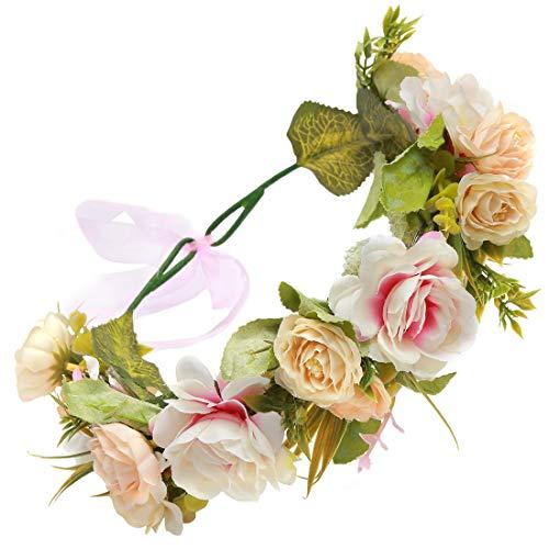 Winslet Blumen Stirnband Hochzeit Haarkranz Krone - Frauen Mädchen Blumenkranz Haare für Hochzeit Party (Pink)