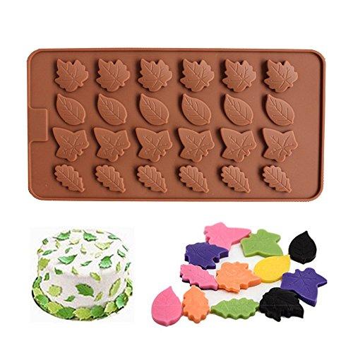 Biniwa – 24 Hohlräume Baum Blätter Silikonform Ool für DIY, Cupcake, Kuchen, Zuckerpaste, Schokolade, Süßigkeiten Projekte DIY Dekoration