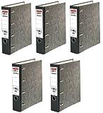 5 Stück Herlitz Doppelordner Bankordner DIN A4 für 2xDIN A5 quer schwarz grau Büro 5190806 schwarz