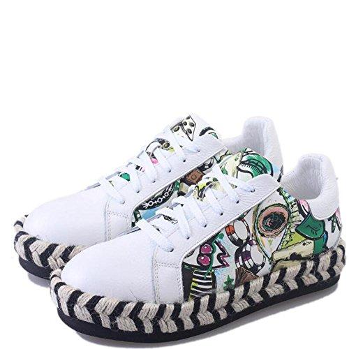 L@YC Frauen flache Schuhe Low Cut Spitze wei?e Schuhe im Fr¨¹hling Studenten Freizeit tragen Wei? auf schwarz White