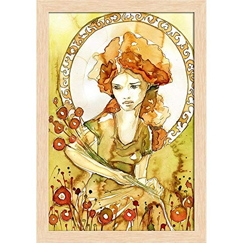 ArtzFolio Beautiful Romantic & Pensive Girl D3 Poster Natural Brown Frame with Glass 13.5 X 19.5Inch