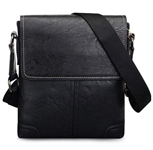 Männer Business Bag Umhängetasche Retro Freizeit Griff Messenger Bag Männer Stil Trendy Leder Rucksack,Black-OneSize