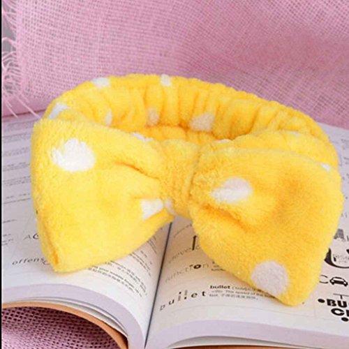 Lidahaotin Schöne Big Bow Dot Striped Soft Dusche Haarband Wrap Stirnband Bad Spa Make up Stirnband Gelb
