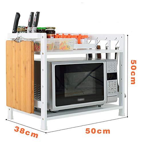 IG Lagerregal Geeignet für die Küche Home Office Wohnzimmer , 2-stufiges Mikrowellen-Lagerregal Bambus-Lagereinheit Gestell Gewürzregal Stehender Besteckhalter Organisationen -
