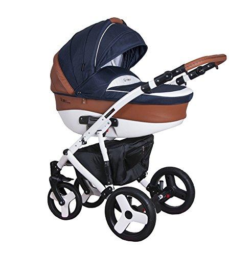 Coletto Florino Classic F 07 - Kombi Kinderwagen 3in1 Baby, Autositz Kinderwagen System 3 in1, Regenschutz Moskitonetz Wickeltasche