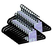JVL Premium Range Velvet Touch Thin Space Saving Non-Slip Coat Hangers, Black, Pack of 50