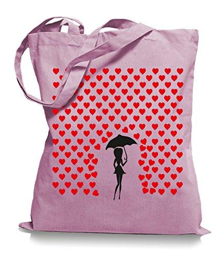 Ma2ca® Heart Rain - Jutebeutel Stoffbeutel Tragetasche / Bag WM101 Classic Pink