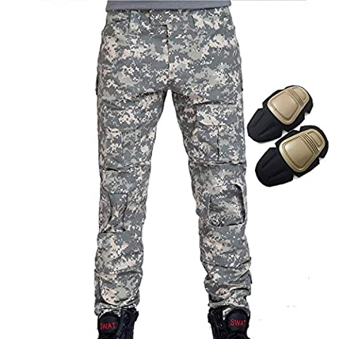 H World EU Military Army Tactical Airsoft Paintball Shooting Pants Combat Men Pants with Knee Pads ACU (M)
