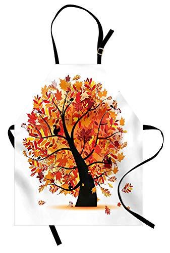 Delantal de otoño, árbol curvilíneo con varios tipos diferentes de hojas caídas Ilustración de estilo de dibujos animados, Delantal de cocina unisex con cuello ajustable para cocinar Hornear Jardinerí