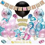 Dsaren 103 Pcs Gender Reveal Party Supplies Baby Shower Decoration Boy Or Girl Ballon Confettis Bannière Bleu et Rose Photo Booth Props Cupcake Toppers pour Révéler Le Sexe...