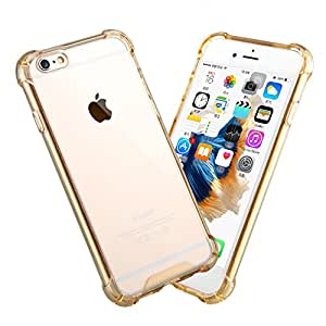 iPhone 6 Case, LongRise® iPhone 6 Air Cushion Shock Absorb Gel TPU Clear Case for iPhone 6 6s 4.7 Inch(Gold)