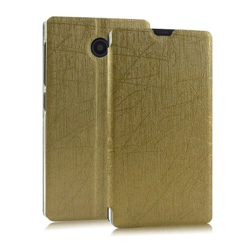 Heartly Premium Luxury PU Leather Flip Stand Back Case Cover For Nokia X X+ Dual Sim Plus Android A110 - Gold  available at amazon for Rs.399
