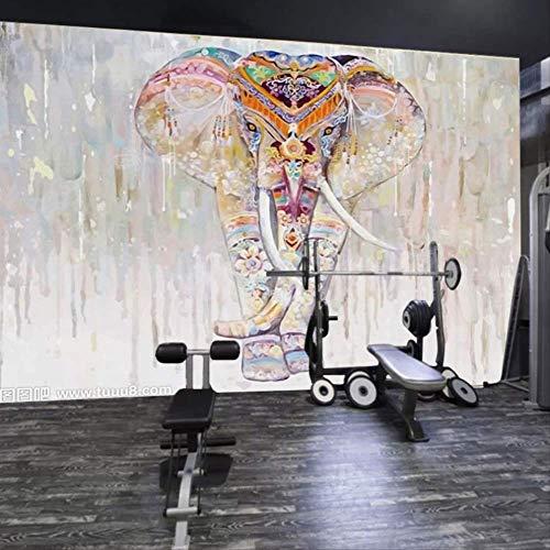 Handbemalte Kunst Elefanten Wandgemälde Wohnzimmer Gang-hintergrund Tapete Pilates Yoga Studio Tapete Hotel-restaurant Tapete Höhe 250cm * Breite 175cm Eine