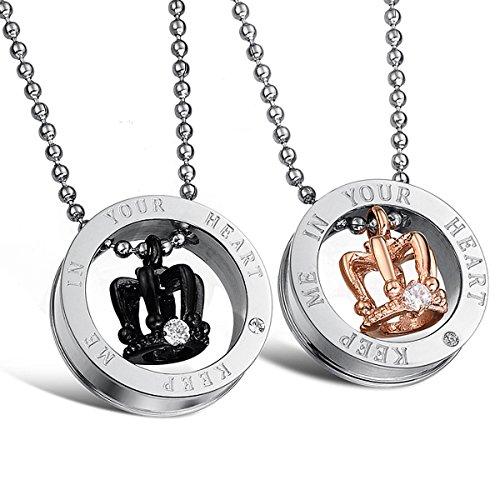 *Kim Johanson Pärchen Halsketten für verliebte aus Edelstahl mit Ring & Krone und Gravur inkl. Schmuckbeutel*