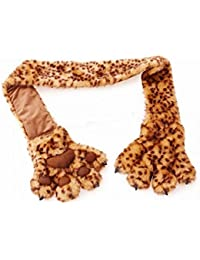 Womens/Ladies Faux Fur Animal Print Scarf With 3D Paw Pockets