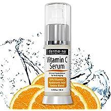 La vitamina C Suero de belleza con un 20 % de la vitamina C y ácido hialurónico Por Derma -nu - Tratamiento orgánico de la piel para reparar el daño solar y reducir las arrugas - 1,25 oz