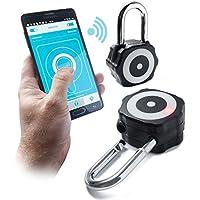 Kolmon Smart Bluetooth 4.0lucchetto. Sicura con una robusta e retrò-a Smart lucchetto per bici, capanno o anche in palestra. Non necessita di combinazioni o chiavi, controllando la Kolmon Lock from your Smart Phone (iOS/Android) tramite App gratuita. Serratura a più utenti da condividere l' accesso del Kolmon Just One app. La serratura Kolmon è forte, robusta e resistente per molteplici usi, integrato con batteria a lunga durata di vita (fino a 6mesi di uso quotidiano.) (nero)