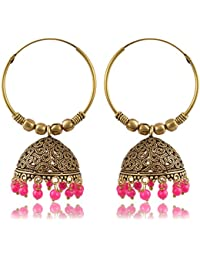 Womens Earring Gold And Pink Oxidized Silver Jhumki Earrings For Women (E225) By The Fashion For Sure