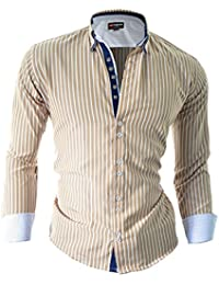 D&R Fashion Mens Elegant Shirt with Stripes Pattern and Comfortable Cut Slim Fit Cotton